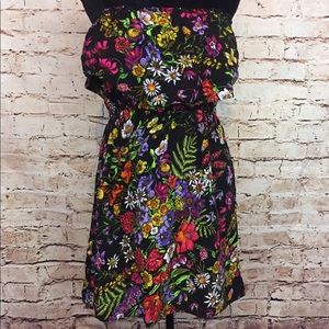 Mimi Chica Dress Black Floral Strapless Size Large
